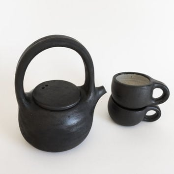 BLACK TEAPOT SET 16 oz, ceramics, ceramic, pottery, handmade, tea pot set, teacups, cups, blackandwhite, black&white, teaset