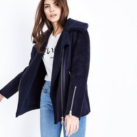 Navy Faux Shearling Aviator Jacket | New Look