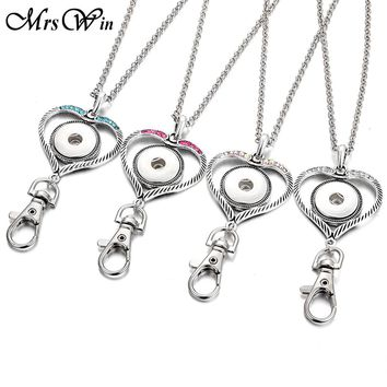 New Snap Jewelry Snap Button Key Chain Crystal Love Heart 18mm Snap Keyring Lanyard DIY Button Keychains Pendant Necklace