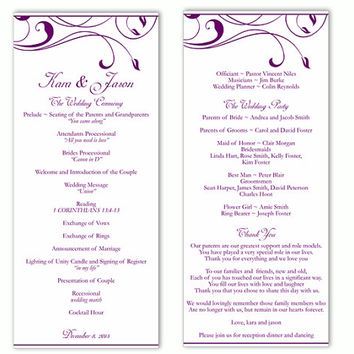 Wedding Program Template DIY Editable Word File Instant Download Program Eggplant Program Purple Program Printable Wedding Program 4x9.25