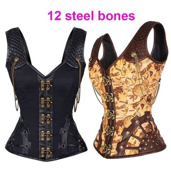 Women's Vintage Chain Black Steampunk Corset Gothic 12 Steel Boned Waist Trainer Corsets and Bustiers with Straps Vest Corselet