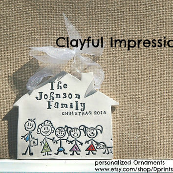 Personalized Ornament of Family for Christmas in Color, New Home, Family Name Ornament