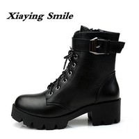 Xiaying Smile New Winter Style Women Boots Antieskid Mid Calf Boots Round Toe Lace Shoes Fashion Casual Warm Flock Rivet Boots