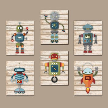 ROBOT Wall Art, Big Boy Bedroom Pictures, CANVAS or Prints, Robots Boy Nursery Artwork, Aliens Outer Space Decor, Galaxy Set of 6 Pictures