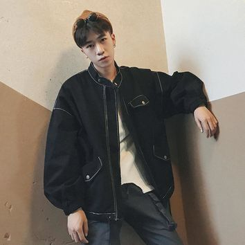 Men's Oversized Black Workwear Bomber Jacket