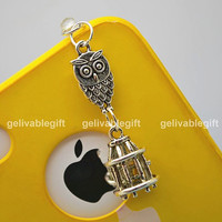 iPhone 5 4S 4 charm,3.5mm dust proof plug with harry potter owl and bird cage charms,fit for samsung Blackberry HTC PSOW02