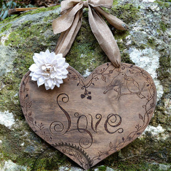 "Large Rustic Wood Heart 18"" x 16"" - Wedding Decoration or Valentines Day Wreath"