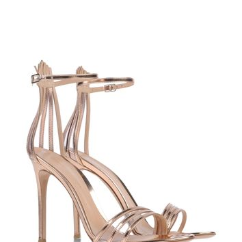 Gianvito Rossi Venetia Rose Gold Sandal - Gold Sandals - ShopBAZAAR