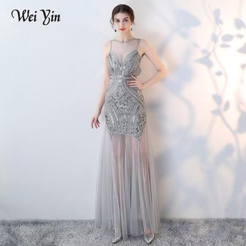 WEIYIN Sequins Beading Evening Dresses Mermaid Long Formal Prom Party Dress Sexy Mother of the Bride Dresses vestido de noiva