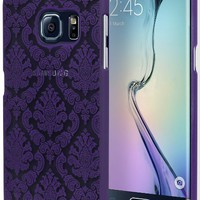 Galaxy S6 Edge Phone Case, Bastex Hard Protective Purple Damask Design Case Cover for Samsung Galaxy S6 Edge G930