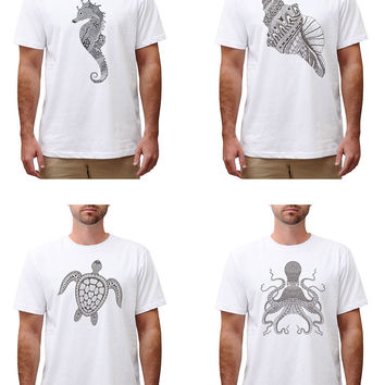 Men Zentangle stylized black see fish Printed Cotton Round Neck T-shirt MTS_00