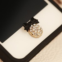 3D Fashion Black Bowknot Bling Diamond Home Button Sticker For iPhone 5S
