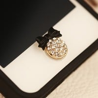 OrangeTag 3D Fashion Black Bowknot Bling Diamond Home Button Sticker For iPhone 5S