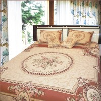 DaDa Bedding Orange & Beige Spices Victorian Floral Medallion Chenille Bedspread Set - Twin
