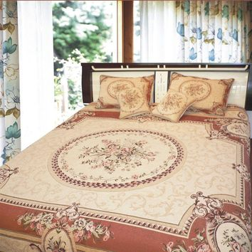 DaDa Bedding Orange & Beige Spices Victorian Floral Medallion Chenille Tapestry Bedspread Set