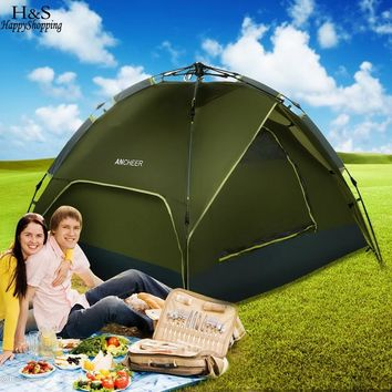 3-4 Person Quick Pop Up Buckle Waterproof Dome Tent