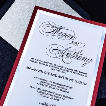 Red and Silver Wedding Invitation - Glitter Wedding Invitation - MEGAN VERSION