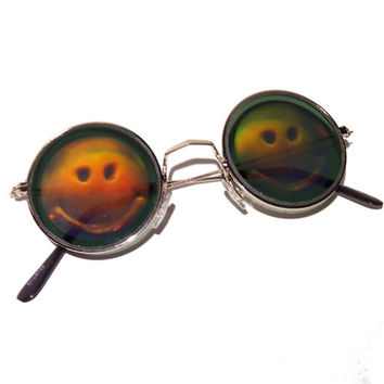 CLEARANCE **PLEASE READ** Smiley face round hippie hippy hologram holographic lennon 90s grunge retro vintage sunglasses glasses shades