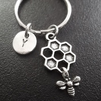 Bumble bee keyring, keychain, bag charm, purse charm, monogram personalized custom gifts under 10 item No.825