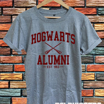 hogwarts alumni shirt harry potter shirt tshirt t-shirt sport grey printed unisex size (DL-89)