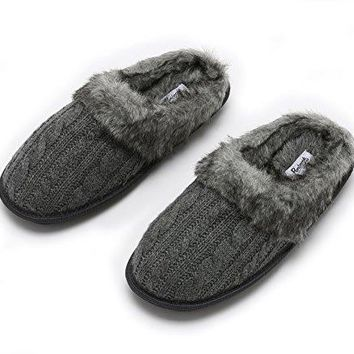 Pembrook Ladies Faux Fur + Cable Knit Slippers ndash Comfortable Memory Foam Indoor and Outdoor NonSkid Sole  Great Plush Slip on House Shoes for adults women girls