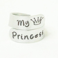 My princess ring - Princess crown ring - Ring for daughter - Girlfriend ring - Gift for wife - Gift for daughter - Stamped ring