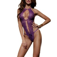 YesX Sexy Lingerie Purple Lace Teddy