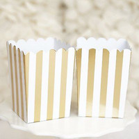 10 Gold and White Stripes Popcorn Favor Boxes Bridal Baby Shower to Pop