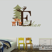 Friendly deer with name nursery wall decal, nursery decor, kids wall decal, personalized, kids decor, nursery decals, childrens name decal