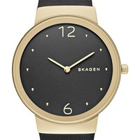 Women's Skagen 'Freja' Leather Strap Watch, 34mm - Black/ Gold