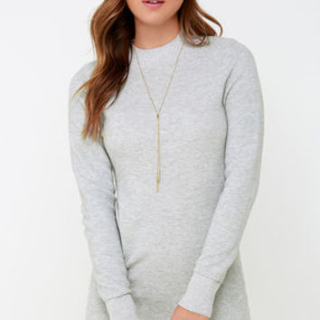 Mink Pink Ultimate Light Grey Long Sleeve Dress