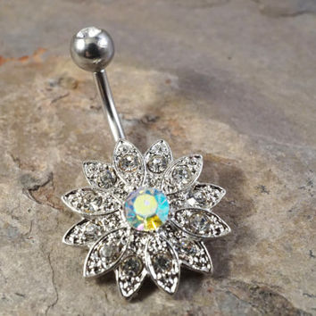 Crystal Sunflower Flower Belly Button Jewelry Ring