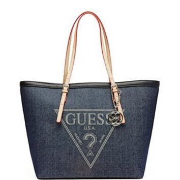 Delaney Denim Large Classic Tote at Guess