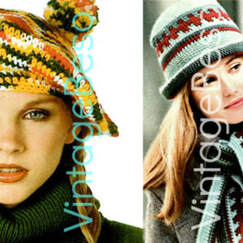 3 PATTERNS Ombré Beret plus Houndstooth Hat and Scarf 1970s Vintage Crochet Pattern Beach great for beginner PDF Pattern Instant Download