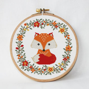 Fox cross stitch pattern baby Nursery decor wreath flowers cross stitch Animals Woodland unique baby gift  Instant Download