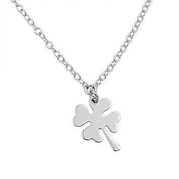 Irish 925 Sterling Silver Four Leaf Clover Pendant Necklace