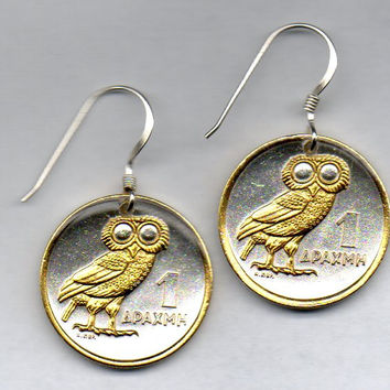 Gorgeous 2-Toned   Gold on Silver Greek  Owl  Coin Earrings