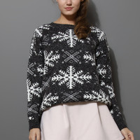 Snowflake Pattern Knit Sweater in Grey Grey S/M