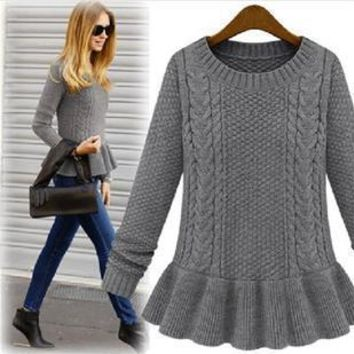 Pullover Knit Tops Twisted Round-neck Winter Dress [11604722196]