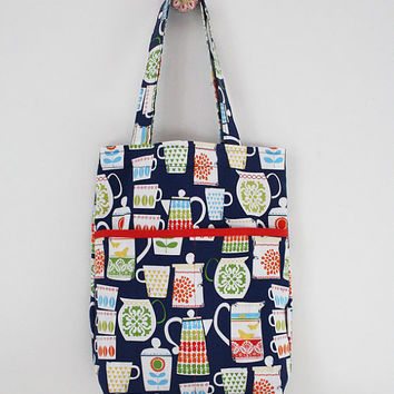 Catherineholm inspired tote bag blue red green by SoHappyInRed