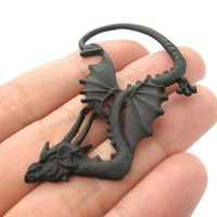 Mythical Creatures Dragon Shaped Animal Ear Cuff in Black | Single Piece from DOTOLY