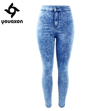 1889 Youaxon Women`s Plus Size Vintage High Waist Acid Wash Stretch Denim Ultra Skinny Pencil Trousers For Women Jeans