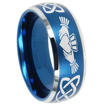 10mm Irish Claddagh Dome Brushed Blue 2 Tone Tungsten Carbide Men's Wedding Ring