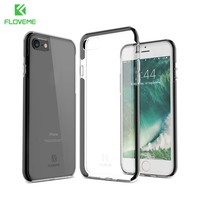 For iPhone 7 Case, FLOVEME Luxury Plating Anti Knock Phone Cases for iPhone 7 7 Plus Cover Ultra Thin Transparent Back Cover