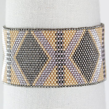 Desert Memories Bracelet in Beige, Blush, and Grey - Peyote Stitch with Sterling Silver Clasp