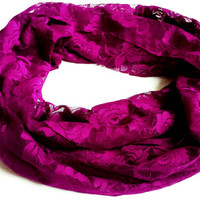 Orchid Lace Fashion Infinity Scarf Orchid Summer Scarves Womens Fashion Accessories Lace Accessories Floral Lace Scarf Orchid Scarf