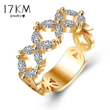 17KM Gold Color Hollow Out Rhinestone Flower Crystal Rings For Women High Quality Birthday Anniversary Bijoux Ring Jewelry