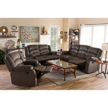 Baxton Studio Hollace Modern and Contemporary Taupe Microsuede Sofa Loveseat and Chair Set with 5 Recliners Living room Set Set of 1