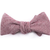 Burgundy Herringbone Bow Tie