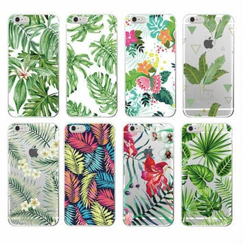 Tree Leaves Tropic Summer Floral  Fashion Soft TPU Printed Phone Case Cover For iPhone 4 5 6 7 S Plus SE 5C